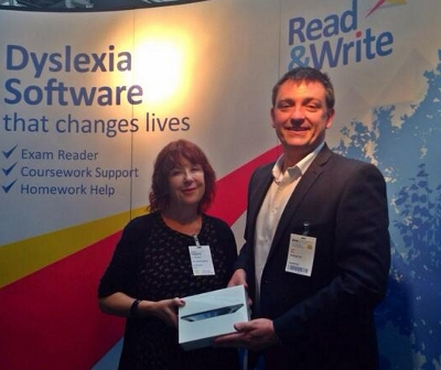 Sal receiving Texthelp's Dyslexia Champion Award for 2013